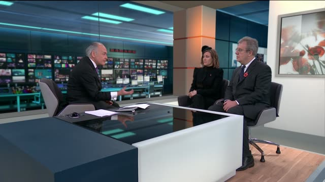 armistice day commemorations gir int cerys matthews and richard hughes live studio interview sot - itv lunchtime news stock videos & royalty-free footage