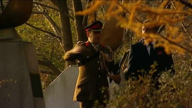 armistice day david cameron lays wreaths at korean national war memorial / cameron meets south korean president south korea seoul gloster valley... - 花輪を捧げる点の映像素材/bロール