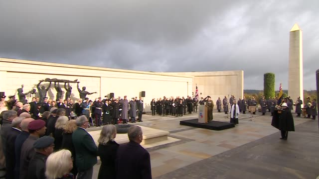 Duke of Gloucester at National Memorial Arboretum Various of periods of silence and service of remembrance attended by the Duke of Gloucester...