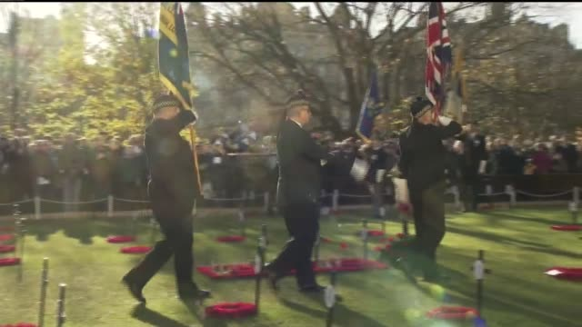 edinburgh scotland edinburgh ext service of remembrance and two minutes silence observed by veterans cadets and the public at the field of remembrance - remembrance day stock videos and b-roll footage