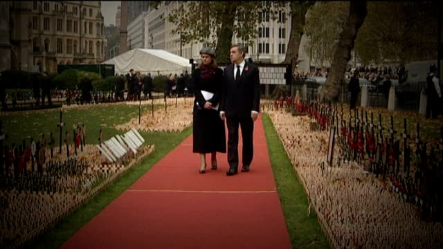 leaders apologise for alleged opportunistic photocall lib motion of browns along at field of remembrance - brown stock videos & royalty-free footage