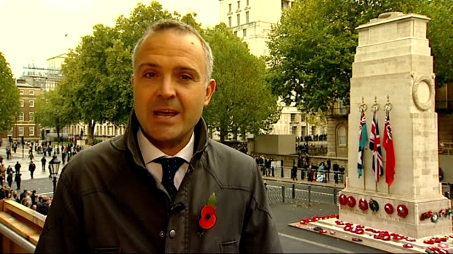 armistice day marked across the country london whitehall reporter to camera sot - リチャード・パロット点の映像素材/bロール