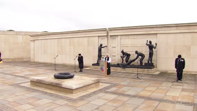 national memorial arboretum ceremony; england: staffordshire: national memorial arboretum: ext trumpeter playing 'the last post' at armistice day... - armistice stock videos & royalty-free footage