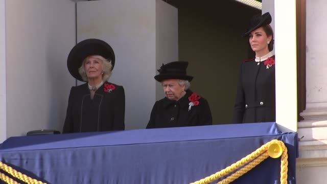 Queen and other royals on Whitehall balcony ENGLAND London Whitehall Queen Elizabeth II on balcony with Camilla Duchess of Cornwall and Catherine...