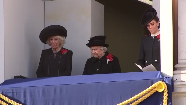 Queen and other royals on Whitehall balcony ENGLAND London Whitehall EXT Queen Elizabeth II onto balcony with Camilla Duchess of Cornwall and...