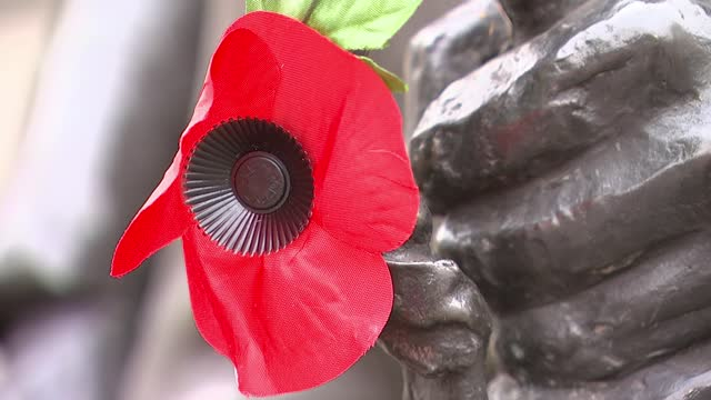 story of the unknown warrior england london victoria ext various of richie forest and schoolchildren paying respects at the rifle brigade monument gv... - war and conflict点の映像素材/bロール