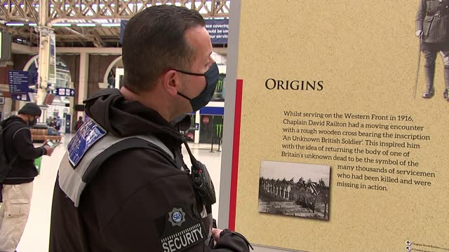 story of the unknown warrior; england: london: victoria station: int exhibition boards on station concourse with information re history of the... - war and conflict stock videos & royalty-free footage