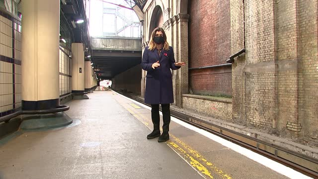 story of the unknown warrior; england: london: victoria station: int reporter to camera sot - war and conflict stock videos & royalty-free footage