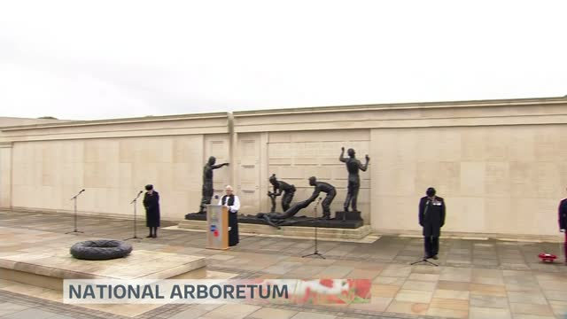 marks socially distanced armistice day amid covid-19 pandemic; england: national arboretum: ext gv people standing in silence during remembrance... - armistice stock videos & royalty-free footage