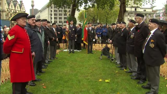 Westminster Abbey ENGLAND London Westminster Westminster Abbey EXT Armed forces veterans and others gathered to observe the two minutes silence for...