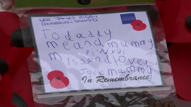 Armistice Day Woolwich memorial plaque unveiled Fusilier Lee Rigby amongst those honoured Close shot message written by Jack Rigby to his father Lee...