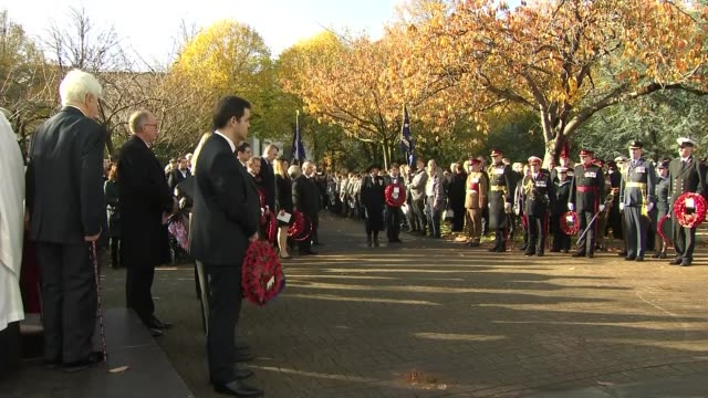 WWI Centenary marked at services at Cenotaph and across world WALES Cardiff People standing for minute's silence at Remembrance Day service SCOTLAND...