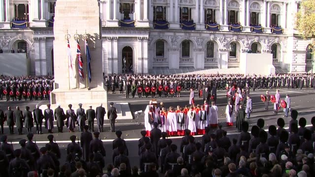 WWI Centenary marked at services at Cenotaph and across world UK London Westminster Royals and politicians at Cenotaph for Remembrance Day service...