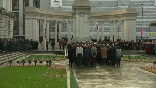 WWI Centenary marked at services at Cenotaph and across world NORTHERN IRELAND Belfast Donegall Square Belfast City Hall EXT Ceremony outside Soldier...