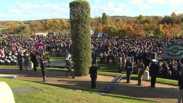 WWI Centenary marked at services at Cenotaph and across world ENGLAND Staffordshire Alrewas National Memorial Arboretum EXT Soldiers standing as...
