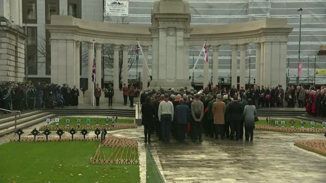 WWI Centenary marked at services at Cenotaph and across world NORTHERN IRELAND Belfast Donegall Square Belfast City Hall EXT Ceremony Soldiers...
