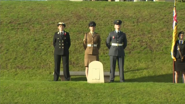 WWI Centenary marked at services at Cenotaph and across world UK Memorial at National Memorial Arboretum in Staffordshire / Veterans marching by...