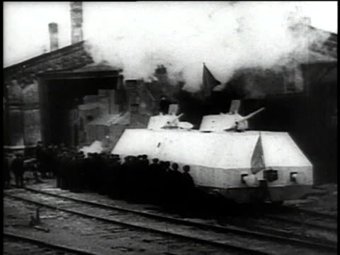 MS armored train emerging from factory / Russia