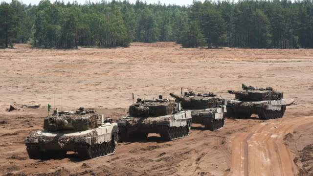 Armored units take part in the NATO Noble Jump military exercises following a live fire demonstration on June 12 2019 in Zagan Poland The exercises...
