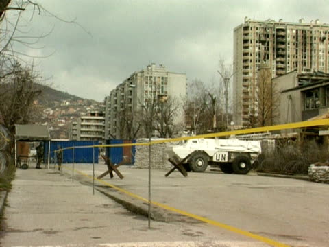 armoured vehicle parked at un checkpoint, sarajevo; 1994 - bosnia and hercegovina stock videos & royalty-free footage