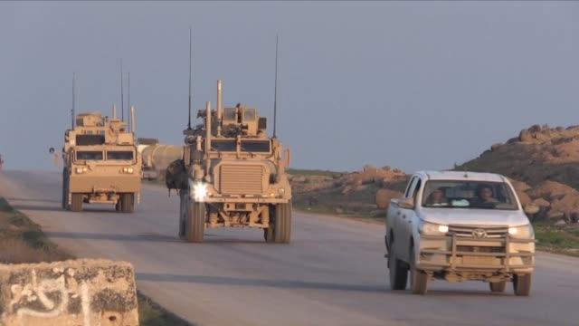 us armoured vehicles patrol with the syrian democratic forces in north eastern syria after us decision to pull troops out of eastern syria leave... - syrian democratic forces stock videos & royalty-free footage