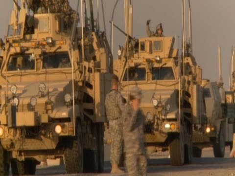 us armoured vehicles queue up preparing to leave iraq - army stock videos & royalty-free footage