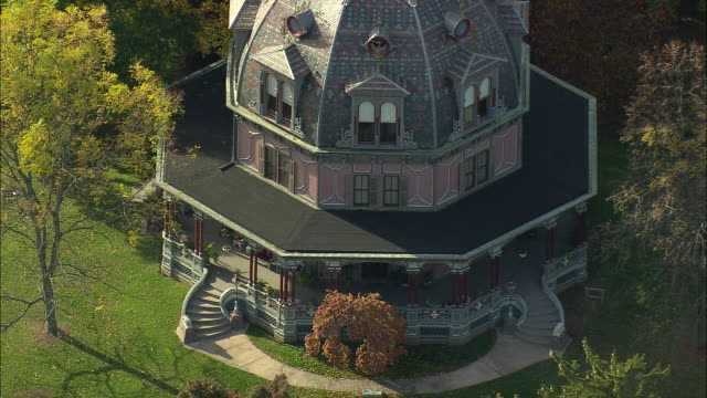 aerial ms armour-stiner house (carmer octagon house), fully domed octagon style residence / irvington, new york, usa - octagon stock videos and b-roll footage