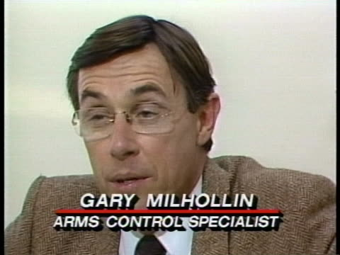 arms control specialist gary milhollin states that germany is after export earnings at the expense of everything else - business or economy or employment and labor or financial market or finance or agriculture stock-videos und b-roll-filmmaterial