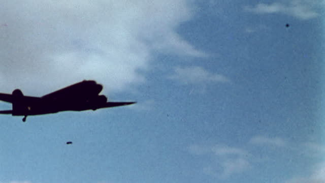 S Army Air Corps transport C47 planes flying through the air