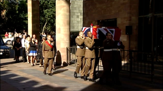 Army apologises for keeping dead soldiers body parts TX West Midlands Coventry EXT Military pallbearers carrying coffin of Lance Corporal James...