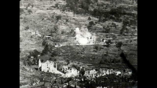 us army artillery shell enemy headquarters in a wwi from a signal corps official film shots of desolation and death - world war one stock videos & royalty-free footage