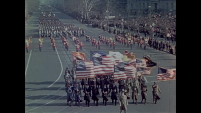 stockvideo's en b-roll-footage met army chief of staff george c. marshall leads military in third inaugural parade for president roosevelt - geallieerde mogendheden