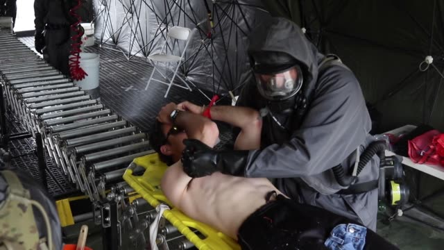 US Army conducts a simulated recon and decontamination exercise at the Muscatatuck Urban Training Center Indiana during Guardian Response 19