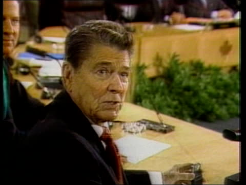 "army coup ends four months of civilian government:; canada: toronto: int tcms side ronald reagan interview sof - ""i just had -- into it"" - canadian politics stock videos & royalty-free footage"