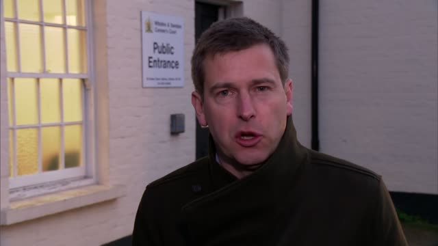 stockvideo's en b-roll-footage met army criticised at inquest into 'beasting' soldier's heatstroke death; swindon: ext reporter to camera/ brigadier john donnelly reading statement... - lijkschouwer