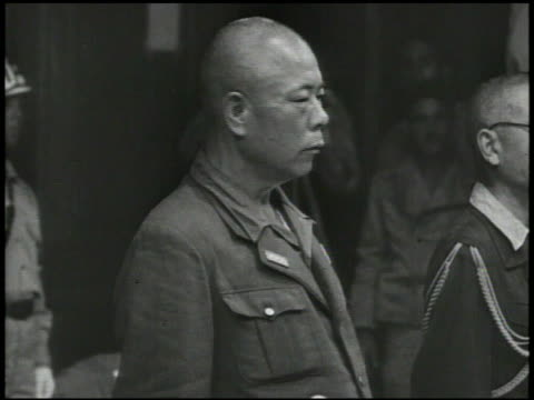 S Army General Jonathan Mayhew 'Skinny' Wainwright IV amp Japanese General Tomoyuki Yamashita meeting w/ delegates amp officials signing Instrument...