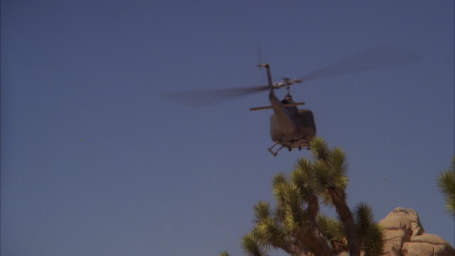 MS TS Army helicopter flying over Yucca plants and rocks