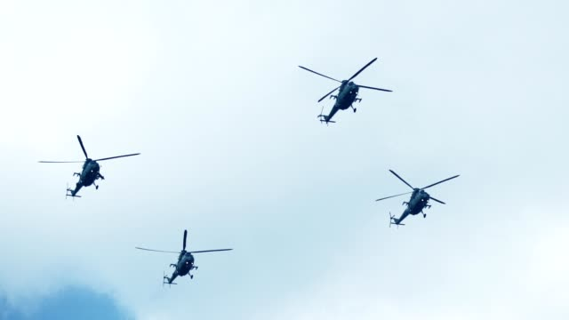 army helicopters flying in formation - tank stock videos & royalty-free footage