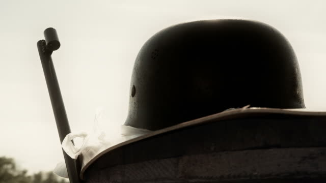 hd - army helmet and rifle - 1945 stock videos & royalty-free footage
