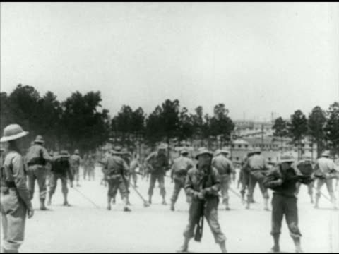 army infantry soldiers bayonet training on field, practicing lunges. note: poor contrast. - bayonet stock videos & royalty-free footage