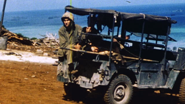 s army jeep reversing and delivering casualty to field hospital / saipan mariana islands - saipan stock videos and b-roll footage