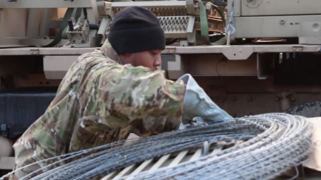 us army mission command element 1st infantry division out of fort riley kansas conducts a command post exercise poznan poland on february 9 2019 - infantry stock videos & royalty-free footage