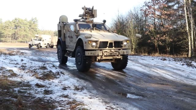 US Army Mission Command Element 1st Infantry Division out of Fort Riley Kansas conducts a command post exercise Poznan Poland on February 9 2019