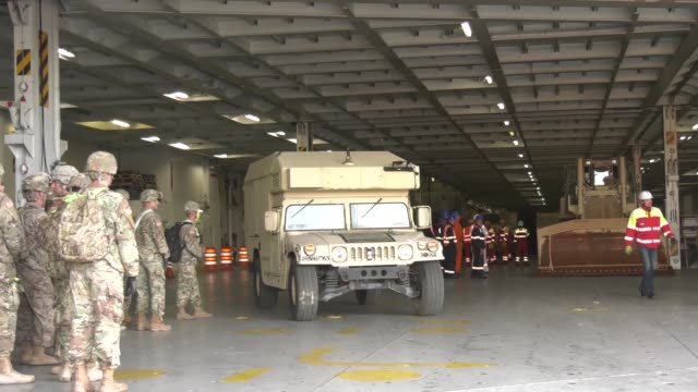 army national guard soldiers with the 2nd squadron 278th armored cavalry regiment based out of knoxville tennessee conduct port operations at the... - operation atlantic resolve stock videos & royalty-free footage