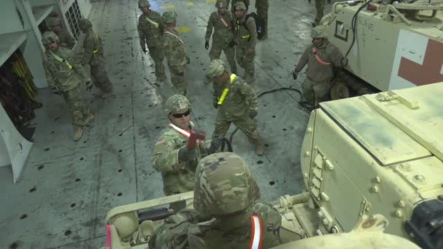 army national guard soldiers with the 2nd squadron, 278th armored cavalry regiment, based out of knoxville, tennessee, conduct port operations at the... - operation atlantic resolve stock videos & royalty-free footage