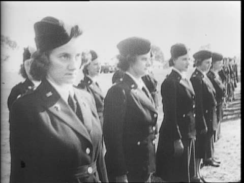 army nurses marching / army nurses at attention / a ship under construction at a shipyard / a welder working / women work on a ship / a woman... - amerikanischer treueschwur stock-videos und b-roll-filmmaterial