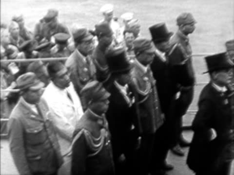 w ha pan composite army officer giving speech to dignitaries and soldiers on board of naval vessel during japanese surrender - japanese surrender stock videos and b-roll footage