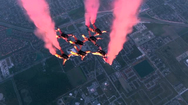 us army parachute display team golden knights perform - s shape stock videos & royalty-free footage