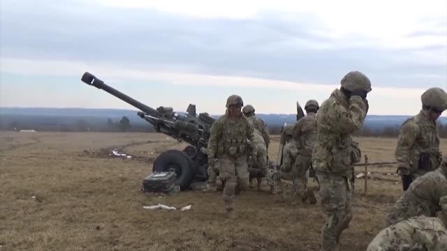army paratroopers assigned to battery b, 4th battalion, 319th airborne field artillery regiment, 173rd airborne brigade, conduct a fire mission with... - howitzer stock videos & royalty-free footage