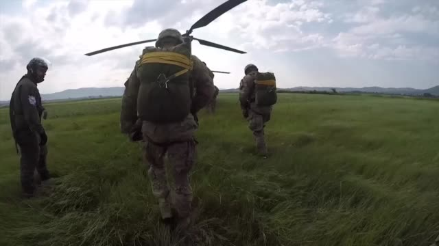 US Army paratroopers assigned to the 1st Battalion 503rd Infantry Regiment 173rd Airborne Brigade and Greek Armed Forces conduct an airborne...